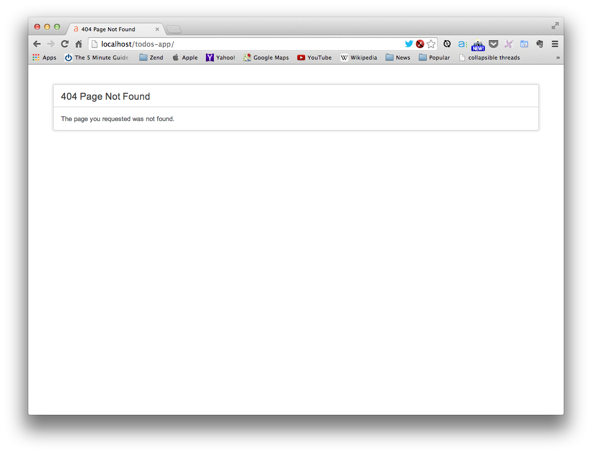 """CodeIgniter's default """"404 Page Not Found"""" error page"""
