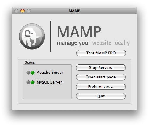 MAMP control center
