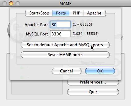 MAMP set default Apache and MySQL ports