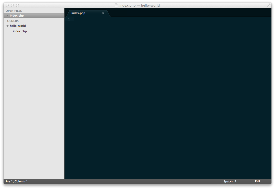 Sublime Text hello-world PHP index file