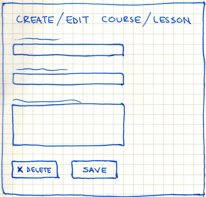 Create / Edit Course / Lesson Page Wireframe