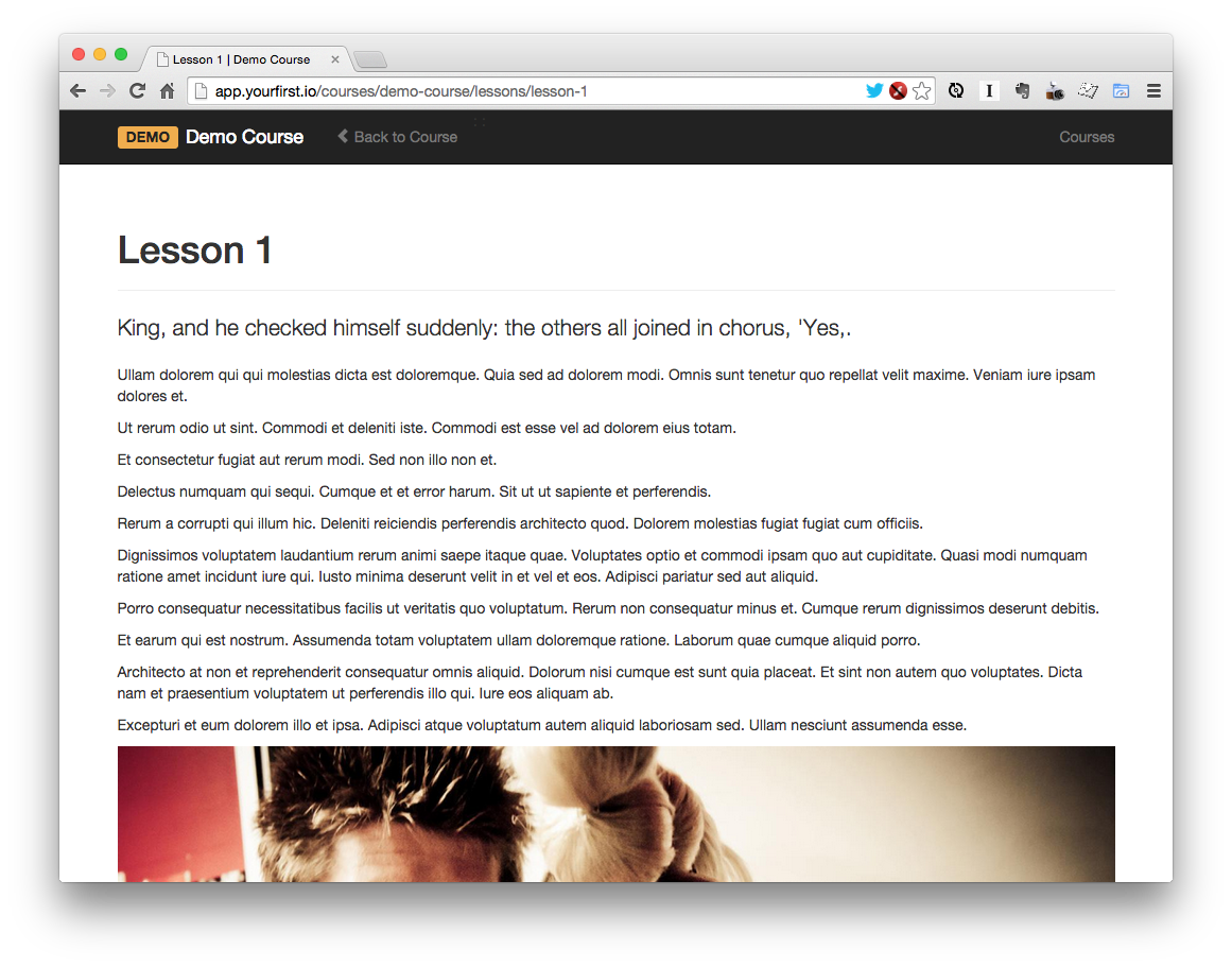 Initial web application's course lesson page