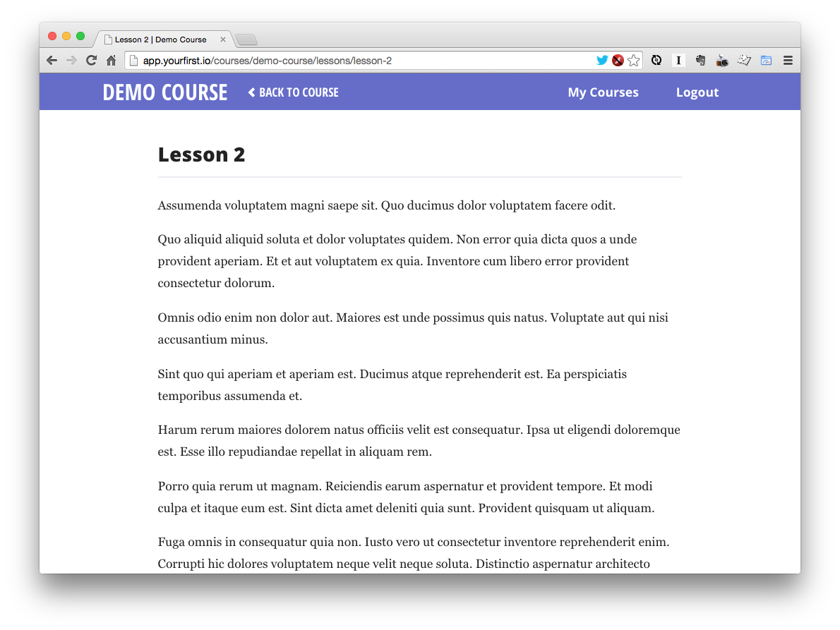 Single lesson page with final design applied