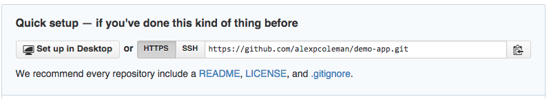 The repository HTTPS URL in GitHub (https://github.com/alexpcoleman/demo-app.git in the repository pictured)