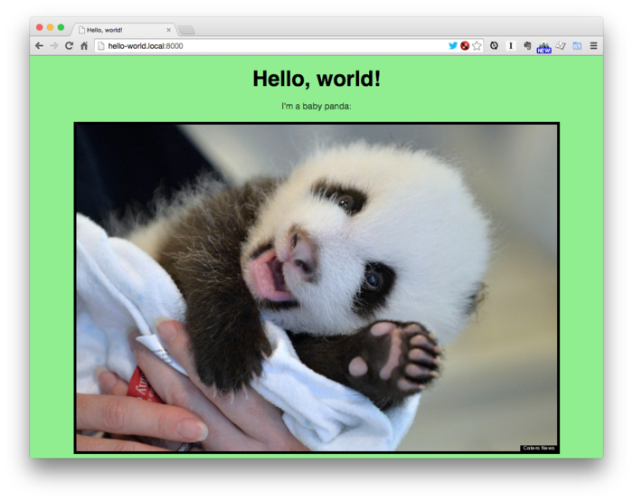 The Hello World page with final CSS applied