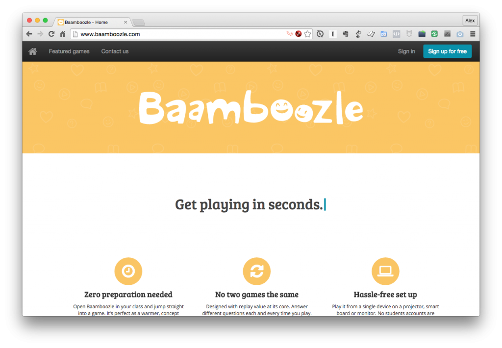 Ronan's Baamboozle Online Education Game Application, built through From Idea To Launch